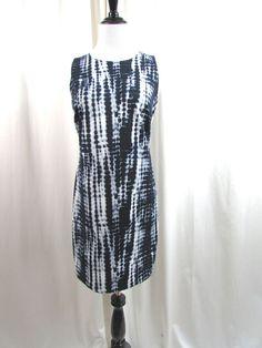 Michael Kors Navy Blue White Sleeveless Tye Dye Shift Dress Silver Zipper Size M #MichaelKors #Shift #WeartoWork