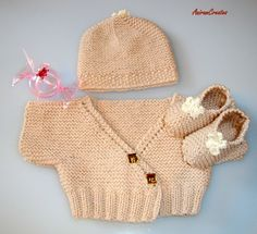 Hand knitted baby jacket with matching cap and by AniramCreates, £32.99