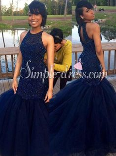 Buy Sexy navy-blue mermaid scoop sleeveless beading prom dress 2016 Prom Dresses under US$ 199.90 only in SimpleDress.