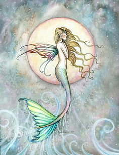 """""First Taste of Sky"" Mermaid Art by Molly Harrison"" by Molly Harrison | Redbubble"