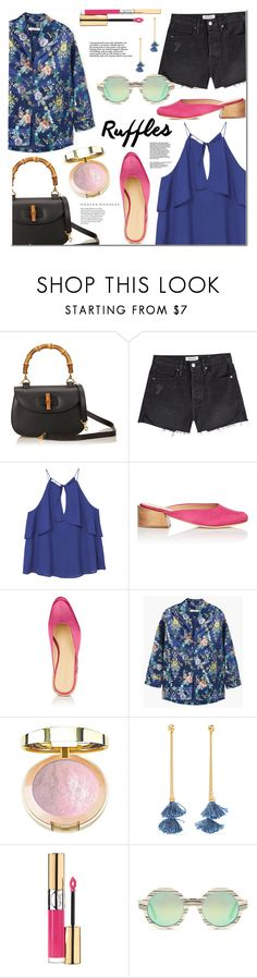 """""""Add Some Flair: Ruffled Tops"""" by monica-dick ❤ liked on Polyvore featuring Gucci, Frame, MANGO, Mari Giudicelli, Ben-Amun, Yves Saint Laurent, Illesteva, ruffles, polyvoreeditorial and ruffledtops"""