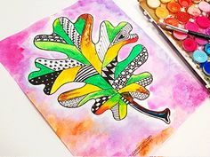 Materials: Oak Leaf Template Black Pens Oil pastels Watercolors
