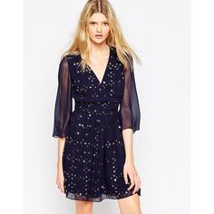 French Connection Million Stars V-Neck Flared Dress (£90) ❤ liked on Polyvore featuring dresses, navy, navy blue floral dress, blue dress, flared dresses, blue fit-and-flare dresses and navy dress