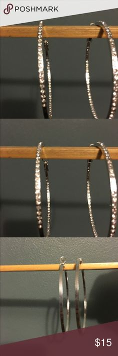 Very dainty silver colored hoop earrings Used once. Not heavy, have small faux diamonds on one side. Very classy for an evening night out, Jewelry Earrings