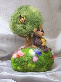Needle Felted Teddy with tree and flowers by CurlyFurr on Etsy, $40.00
