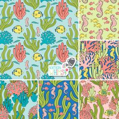 Some of the patterns from Northern Whimsy's Coral Reef collection, in pastel blue, coral, pink, and pastel yellow. Pastel Yellow, Coral Pink, Tropical Fish, Surface Pattern, Shibori, Stationery, Super Cute, Kids Rugs, Invitations