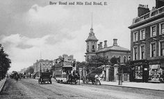 Bow Road and Mile End Road, St Clements Hospital c1910.