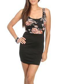 Printed Lace 2fer Dress - Dresses