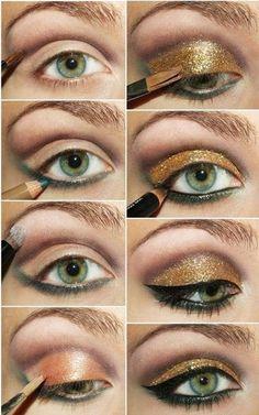 green eye make up: gold and green Peacock Eye Makeup, Fall Eye Makeup, Dramatic Eye Makeup, Dramatic Eyes, Makeup For Green Eyes, Eye Makeup Tips, Makeup Eyeshadow, Lancome Eyeshadow, Makeup Light