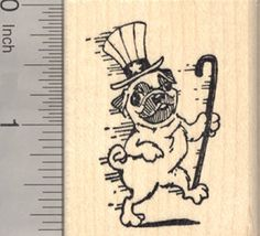 4th of July Pug Rubber Stamp Dancing with Uncle Sam Hat * Check this awesome product by going to the link at the image.