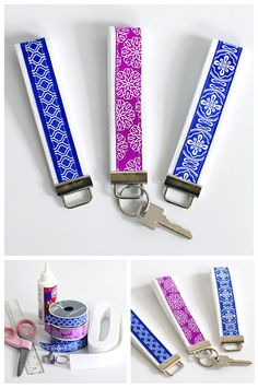 Simple key fob wristlet anyone can make Simple DIY Key Fob Wristlet - At least 3-4 times a year I get to work, and go to open my office door...