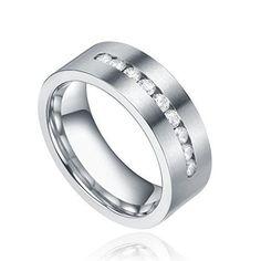 8mm Men's Titanium Ring Engagement Wedding Band with 9 Large Channel Set CZ Cubic Zirconia