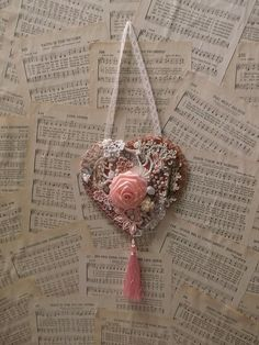 Sweet Victorian Embellished Romantic Heart Wall by AngelsandRoses, $15.00
