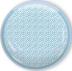 IHR Rosanne Beck Spring Garden Blue Geometric Print Melamine Dinner Plates RB15111