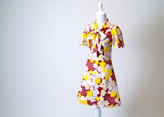 SALE- 30% OFF- Adorable Vintage Floral & Dots Dress- Bright Yellow, Red, White. Collar Tie/ Bow. Great Condition. on Etsy, $31.50