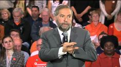 """Oct 9 - During a campaign stop in Montreal, Quebec on October 9, Tom Mulcair points out that Stephen Harper has been """"playing the race card"""" throughout the 2015 election campaign."""