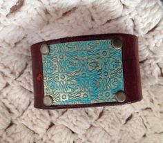 Leather cuff bracelet, handmade from recycled belt, brown leather, metal floral embellishment,  teal painted metal