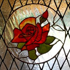 Stained Glass Panel Victorian Red Rose por aHouseofShards en Etsy