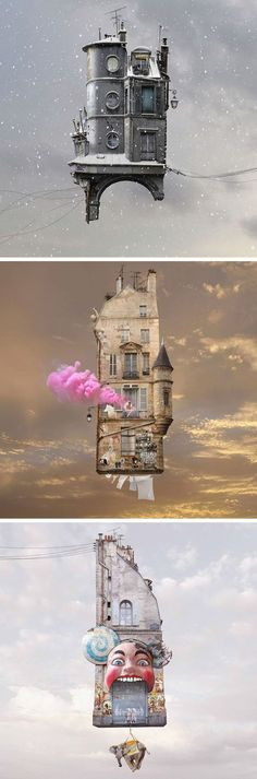 New Flying Houses Hover Above Paris by Laurent Chéhère