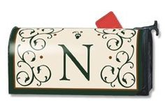 Grand Manor N Magnetic Mailbox Cover by Magnet Works. $14.25. This monogrammed mailbox cover has the letter scripted in a deep forest green color adding a touch of class to your mailbox.  Imagine, one product you can change as often as you like, season after season to dress up your old boring mailbox. Well this is it!   Introducing Mailwraps® magnetic mailbox covers.  The concept is simple: Provide an inexpensive quality product made durable and long la...