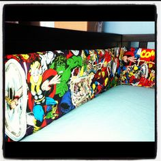 """My baby boys nursery is waiting for him!! """"Marvel Comic"""" themed with handmade bumper pad by ME!"""