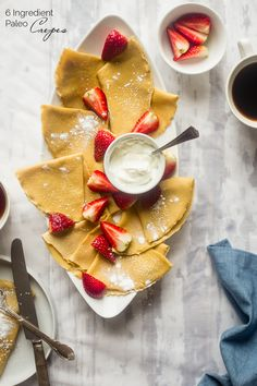 Paleo Crepes - These gluten free, paleo crepes are SO easy to make. Stuff them with your favorite fillings for a healthy breakfast or brunch that's only 75 calories and 3 SmartPoints! | Foodfaithfitness.com | @FoodFaithFit