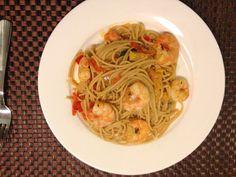 Wholegrain pasta with king prawns. Full recipe at my blog www.daintytreats.wordpress.com. #organic #healthy #pasta # prawns.