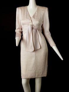 OSCAR DE LA RENTA-1980s White Silk Brocade Dress, Size-4