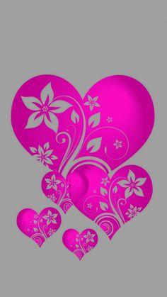 Pretty in Pink hearts Heart Wallpaper, Love Wallpaper, Wallpaper Backgrounds, Iphone Wallpaper, Heart Art, Love Heart, Fractal Art, Fractals, Cute Wallpapers