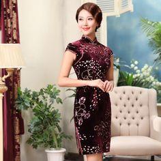 Lovely Pattern Claret Flocked Velvet Qipao - Qipao - Cheongsam - Women