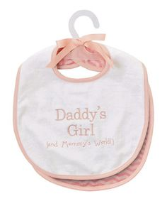 Daddy and Mommy's precious girl shows off the love in this sweet mealtime essential. Made of absorbent cotton, it protects little outfits from mealtime messes in loving style.