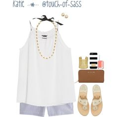 i'm a (seer)sucker for you ! by touch-of-sass on Polyvore featuring MANGO, J.Crew, Jack Rogers, Michael Kors, Kendra Scott, Kate Spade, MICHAEL Michael Kors and Essie