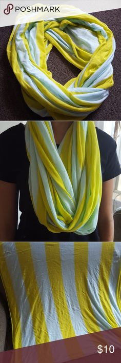Light cotton infinity scarf Cute infinity scarf in light blue and bright gold stripes. Scarf has no tags but came from Gap. Gently used, no stains, pulls, or holes. Smoke-free and pet-free home. GAP Accessories Scarves & Wraps