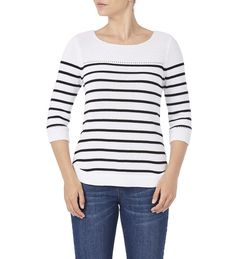 Rockmans 3/4 Sleeve Yoke Detail Stripe Knit Black stripe