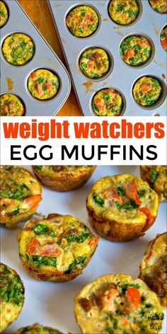 These Weight Watchers Egg Muffins make the perfect low point breakfast. Just 1 p… These Weight Watchers Egg Muffins make the perfect low point breakfast. Just 1 point for 4 muffins! This protein filled breakfast will keep you satisfied and on plan. Muffins Weight Watchers, Petit Déjeuner Weight Watcher, Plats Weight Watchers, Weight Watchers Breakfast, Weight Watchers Meals, Weight Watcher Snacks, Ww Recipes, Low Calorie Recipes, Cooking Recipes
