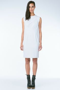 White Silk Blend Dress with Textured Contrast Cut Out Details from It's Me by Dina Lynnyk
