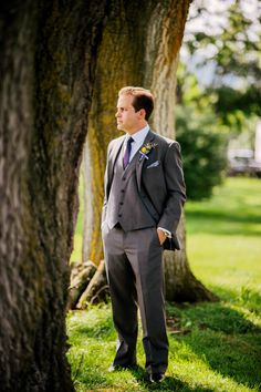 grey suit for a West Virginia countryside estate with photos by The Oberports | via junebugweddings.com
