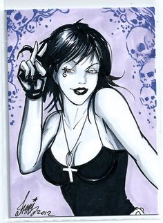 Sexy Death aceo sketch card by HM1art