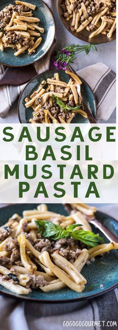 Pasta with Sausage, Basil & Mustard- this Sasuage Mustard Pasta is killer. Totally an odd combination, but you'll be hooked after one taste! via @gogogogourmet