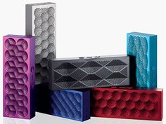 This colorful speaker streams audio and music from any Bluetooth-enabled device with impressive sound quality for its tiny – less than an inch wide – size.