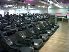 Rows of Technogym cardio machines at the University of Leeds.