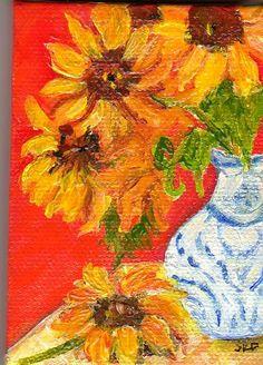 Sunflower Still Life  Original  mini painting by SharonFosterArt, $20.00