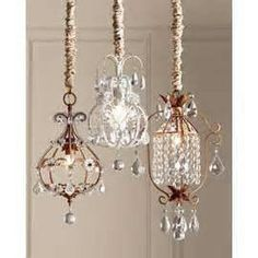 Mini chandeliers....we'll take one of each. :)