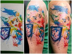 Watercolor Link Tattoo By Boo at Big Ink Tattoos and Piercing. #tattoo #tattoos #booboostattoos #biginktattooandpiercing #bigink #biginktattoos #arnotmall #arnotmalltattoos #fusionink #h2ocean #horseheadsny #corningny #link #linktattoo #zelda #zeldatattoos #nintendo #nintendotattoos