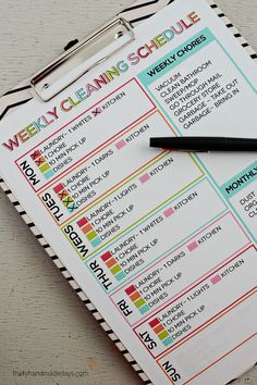 A Simple List to Keep Your Home Clean: Printable Weekly Cleaning Schedule.