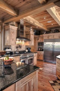 Love the ceiling but the cupboards are a bit much need different colour....Gorgeous kitchen by Woodland Timberframing.