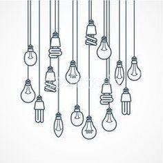 Light bulb hanging on cords - lamps, Bullet Journal, Doodle Drawings, Easy Drawings, Tattoo Drawings, Light Bulb Drawing, Hanging Light Bulbs, Light Bulb Art, Sketch Note, Bujo Doodles, Karten Diy