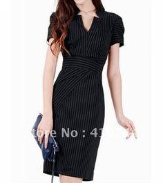 women OL dress black Short Sleeve dresses womens V-neck work dress UK size 8 10 12 14 16 high quality free shipping! on AliExpress.com. $45.65