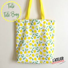 Tuto couture gratuit : Tote bag réversible aux motifs citrons Free sewing tutorial: Reversible tote bag with lemon patterns Reversible Tote Bag, Diy Tote Bag, Sewing Projects For Beginners, Sewing Tutorials, Dress Tutorials, Tote Bag Tutorials, Tote Tutorial, Sewing Tips, Diy Bags Purses