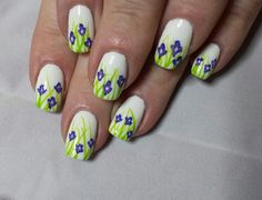 Crocus flowers hand painted nail art.